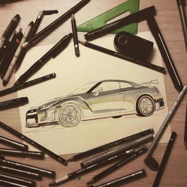 Nissan GTR R35 из Сан-Франциско :) Nissan, Nissan gt-r, JDM, Арт, Творчество, Рисунок, Длиннопост, Машина