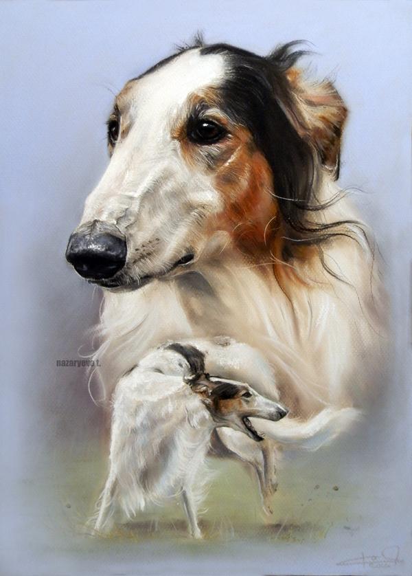 Русский псовый Добби Собака, Портрет, Рисунок собаки, Пастель