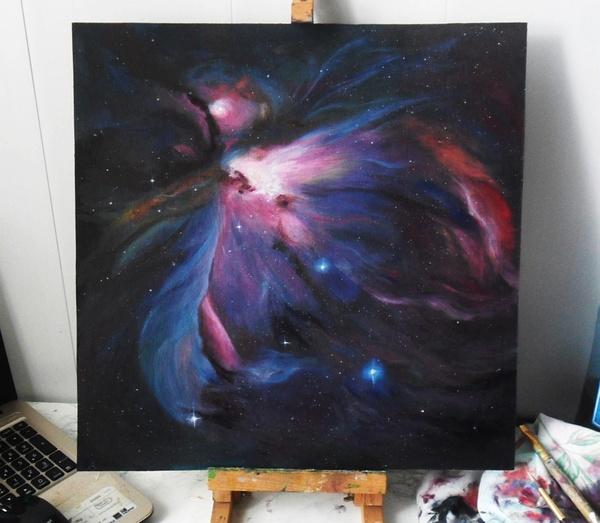 Туманность Ориона Katie Shapo, Туманность ориона, Космос, Картина маслом