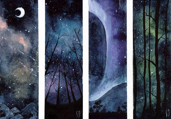 Тренировочная страница, ночное небо Младшая Академия Художников, Арт, Рисунок, Творчество, Акварель, Космос, Небо