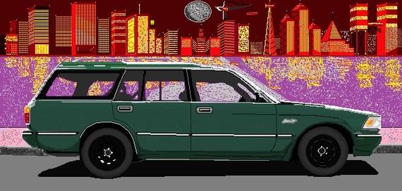 Старая школа 8 бит(18 часов ,клетка за клеткой в Paint). 8 бит, Oldschool, JDM, Арт, 80-90 х, Японские автомобили, ToyotaCrownGS130, My car
