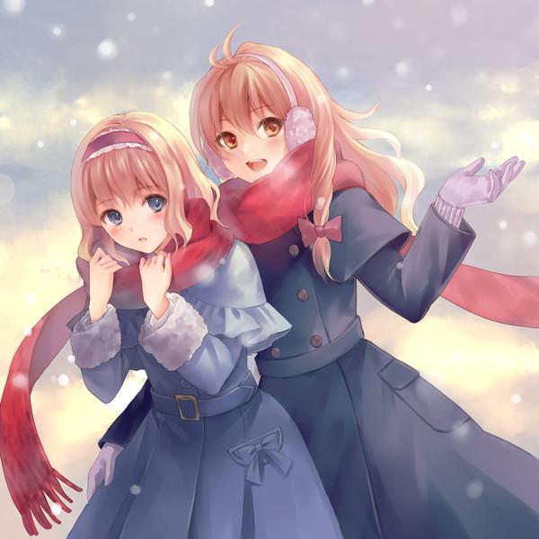 Два Ноль Один Семь ! touhou, Anime Art, аниме, Kirisame Marisa, Alice Margatroid, 2017, Новый Год