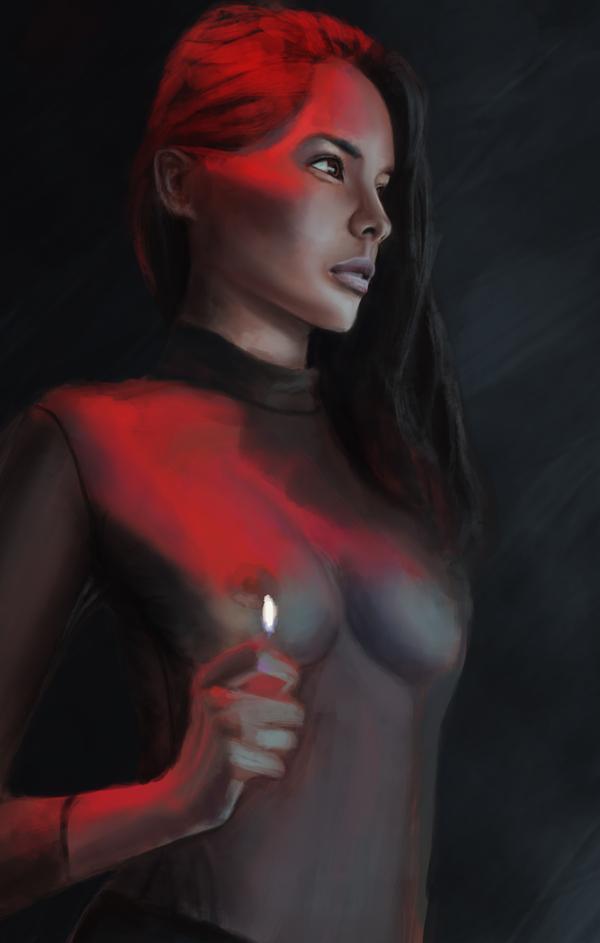 Девушка с огоньком. Арт, Девушки, Стадик, Рисунок