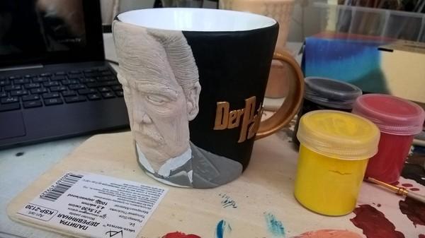 Кружка из полимерной глины Марлон Брандо, Крестный отец, Полимерная глина, Дон Корлеоне, Длиннопост