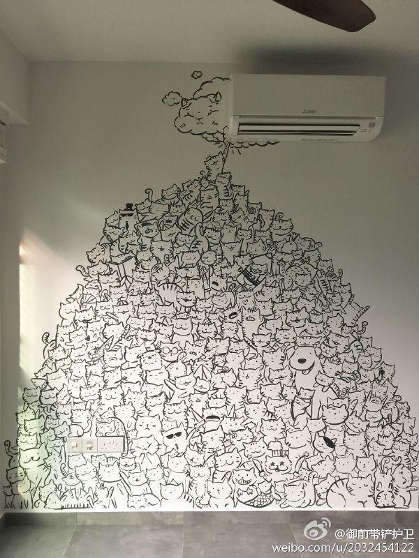 Когда наскучили пустые стены кот, стена, украшение дома