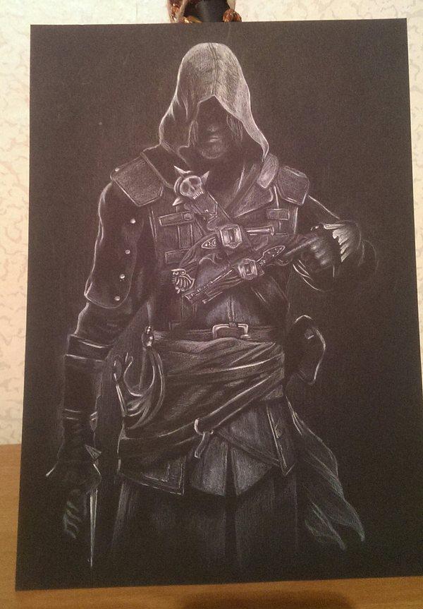 Рисунок белым карандашом Assassin's Creed