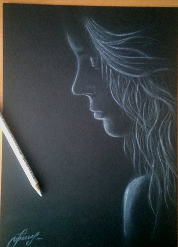 Девушки в тени. Рисунки на черной бумаге девушки, рисунок