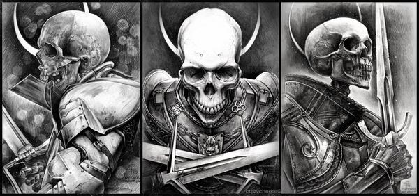 Three Undead Knights medieval, арт, рисунок, карандаш, фентези, средневековье, портрет, длиннопост