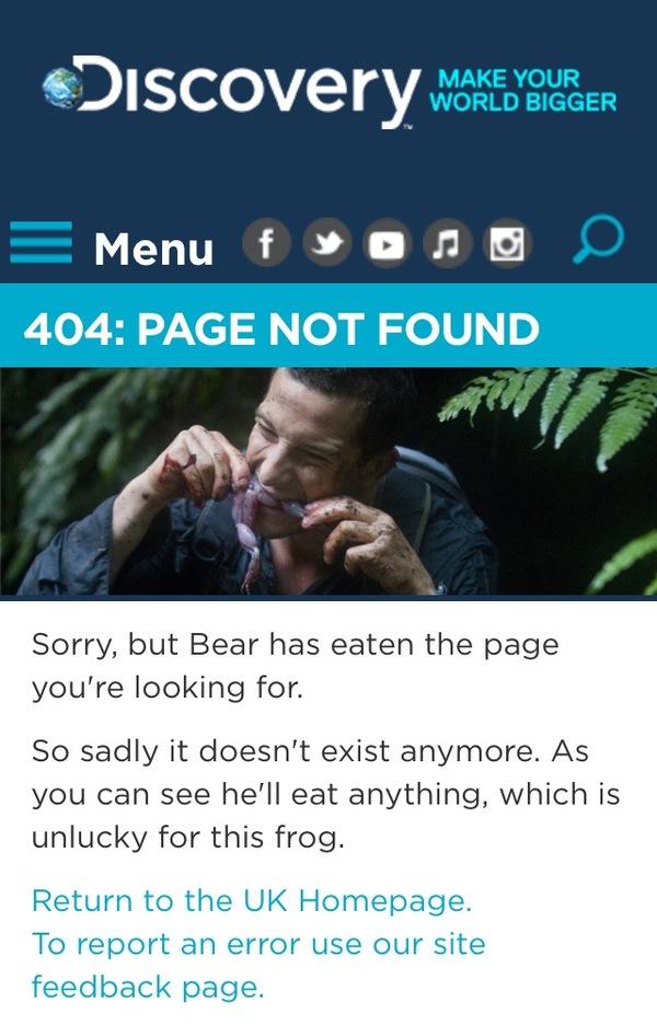 404 на сайте Discovery Chanel Беар гриллс, Лягушки, Сайт