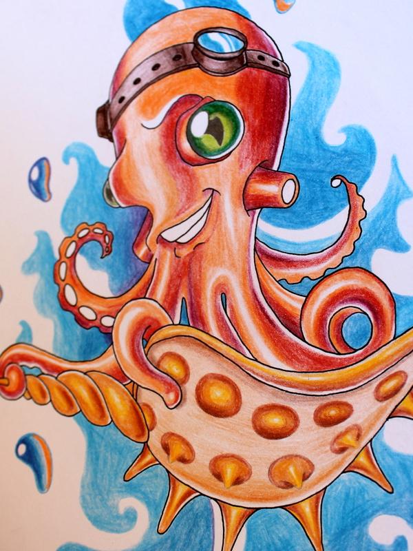 Мини мелкий осьминог :) Скетч, Арт, Тату, Octopus, Океан, Рисунок, Orange, Длиннопост