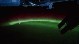 Северное сияние - вид с борта МКС.