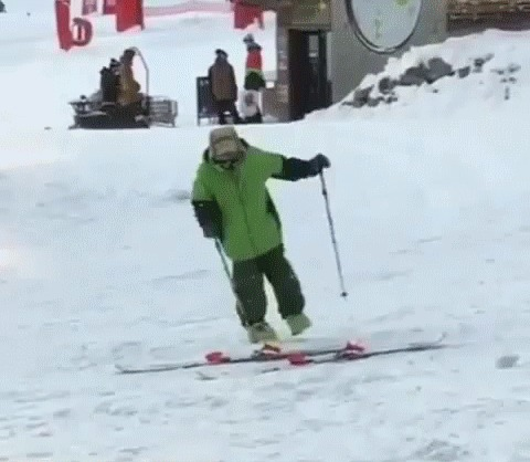 Когда решил покататься на лыжах... Лыжи, Горные лыжи, Алкоголь, Fail, Гифка, Coub