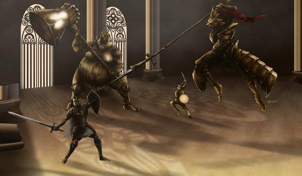 Все боссы Dark Souls (by OniRuu) Часть 2 Dark souls, Dragon Slayer Ornstein, Smough, Iron golem, Сиф великий волк, Four Kings, Stray Demon, Присцилла, Длиннопост