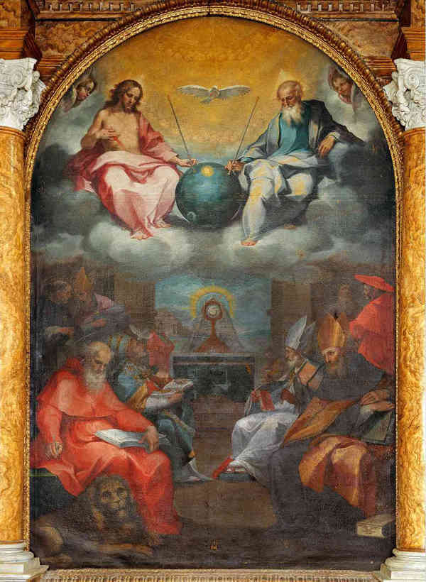 """Ничего особенного, просто я вижу как на картине 17-го века боги держат Спутник-1. Картина называется """"Прославление Евхаристии""""."""