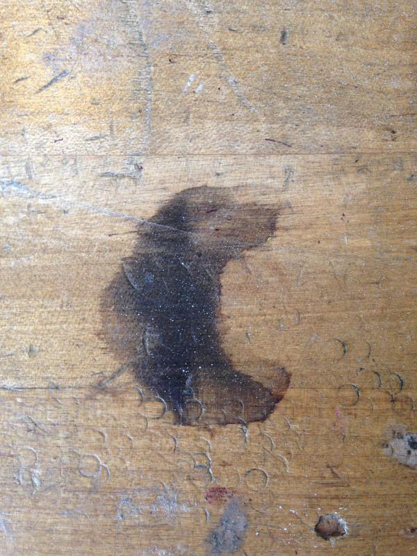 Пятно на столе, напоминающее пса, унюхавшего что-то вкусное