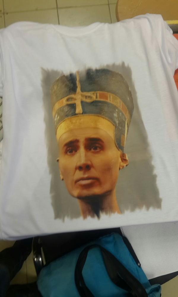 Футболка с Нефертити... ан нет Николас Кейдж, Футболка, Печать на футболках, Клеопатра, Юмор