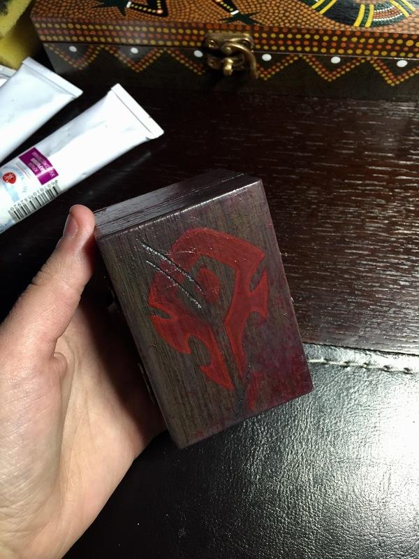 "Коробочка для медиаторов ""Лок' Тар Огар"" шкатулка, Орда, акрил, World of Warcraft, длиннопост"