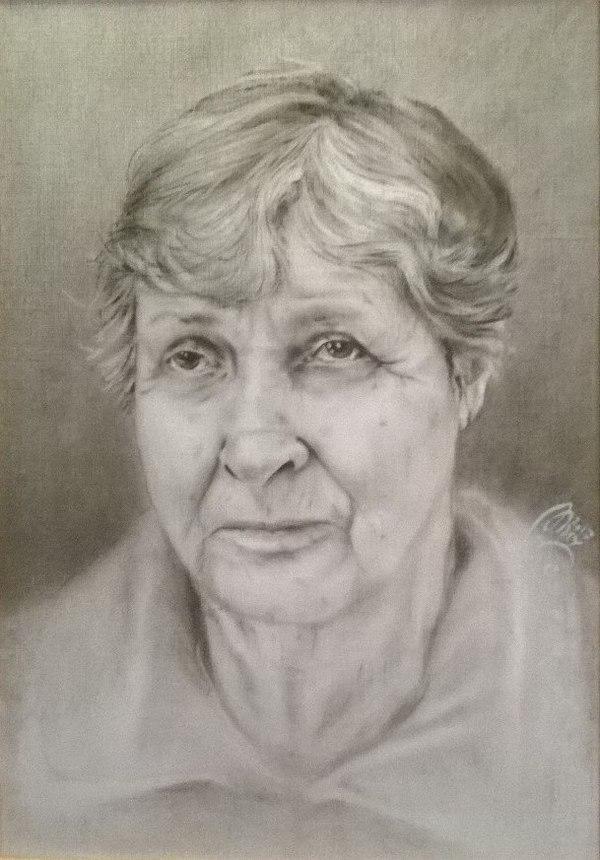 Бабушка. А4, сухая кисть