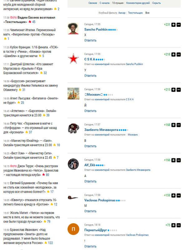 И на Спортс.ру бывают классные ветки комментариев Sportsru, Вадим Евсеев, Футбол, Мат, Комментарии