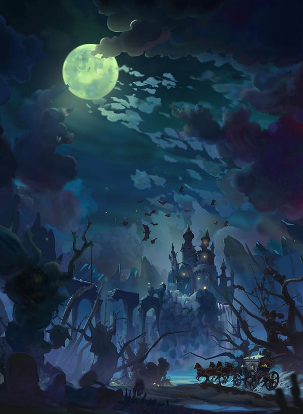 Вперёд, к замку Дракулы! арт, дракула, рисунок, карета, ночь, путешествия, Небо, луна
