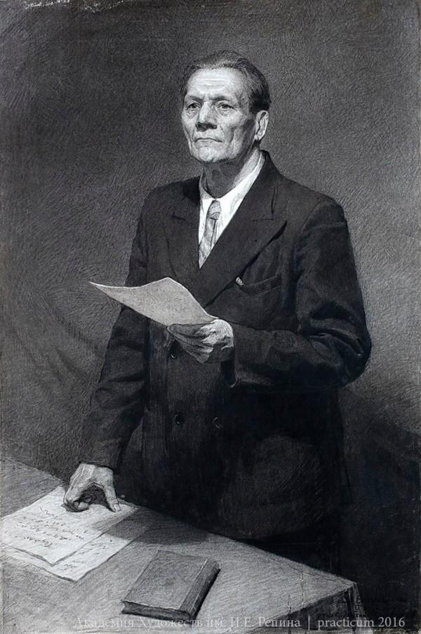Учебный рисунок АХ им.Репина 1950-х