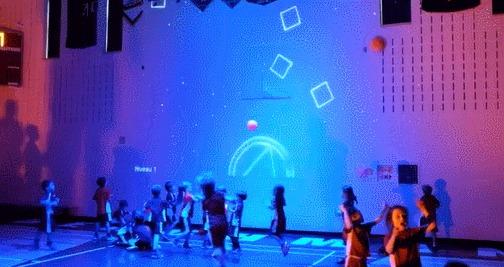 Очень крутое развлечение Interactive Gym Wall, Школа, Стена, Технологии, Развлечения, Мяч, Проекция, Гифка