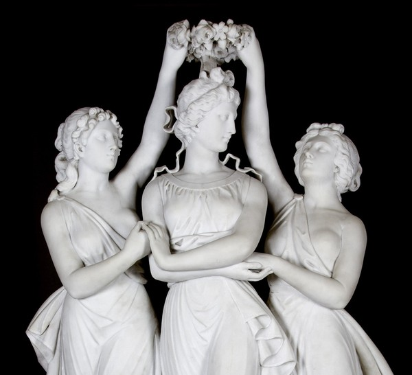 «The Three Graces Crowning Venus», Antonio Frilli, Sold in auction, 19th century. Мрамор, Academic Sculpture, Длиннопост