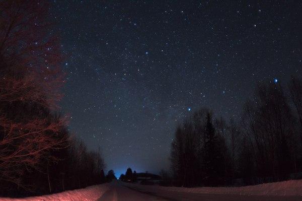 Ночная дорога Звёзды, Ночь, Небо, Фотография, Дорога, Выдержка