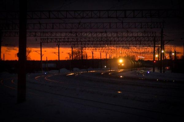 Закат на железной дороге Закат, Поезд, РЖД, Фотография