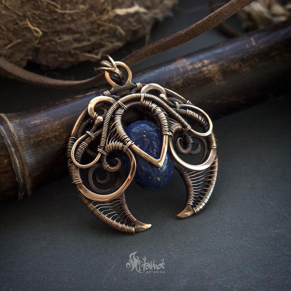 Кулон-лунница Wire wrap, Fantasy, Лунница, Фэнтези, Украшение, Ручная работа, Творчество, Длиннопост