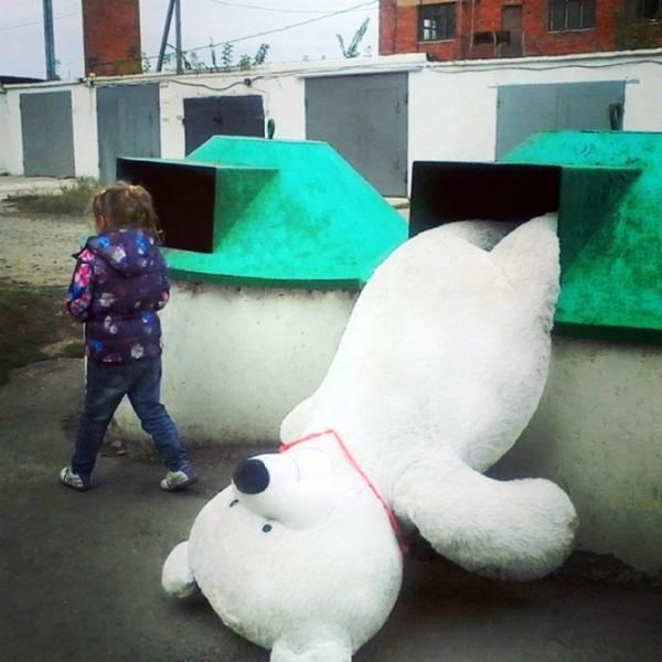 Да что вы знаете о разочаровании?! медведь, игрушки, в мусор, разочарование