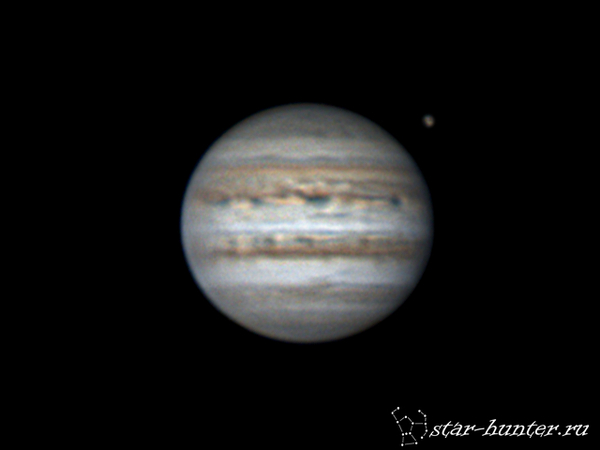 Юпитер и Ганимед, 17 февраля 2017 года, 00:46. Юпитер, астрофото, астрономия, космос, планета, StarHunter, КраснодарБалкон, гифка, длиннопост