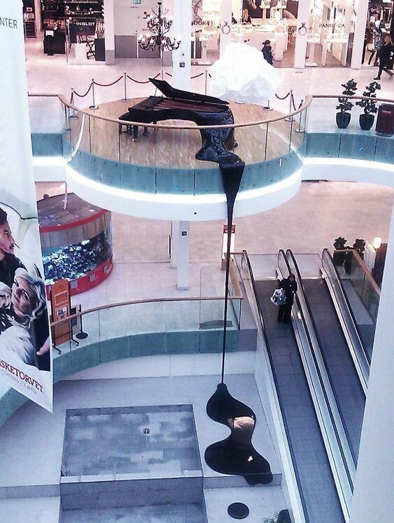 Тающее пианино пианино, торговый центр, reddit, современная архитектура, Рояль