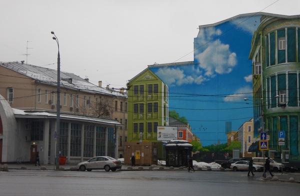 Нарисованная на стене дома улица Москва, Рисунок, Граффити, Ничоси, Фотография, Стена, Иллюзия