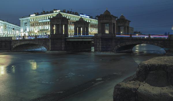 Мост Ломоносова Санкт-Петербург, Россия, Фотография, Мост, Вечер, Фонтанка, Зима