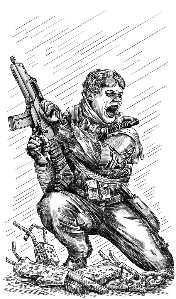 Бойня в Бейруте Рисунок, Графика, Иллюстрации, Фантастика, Баллард, Дети с оружием, Длиннопост