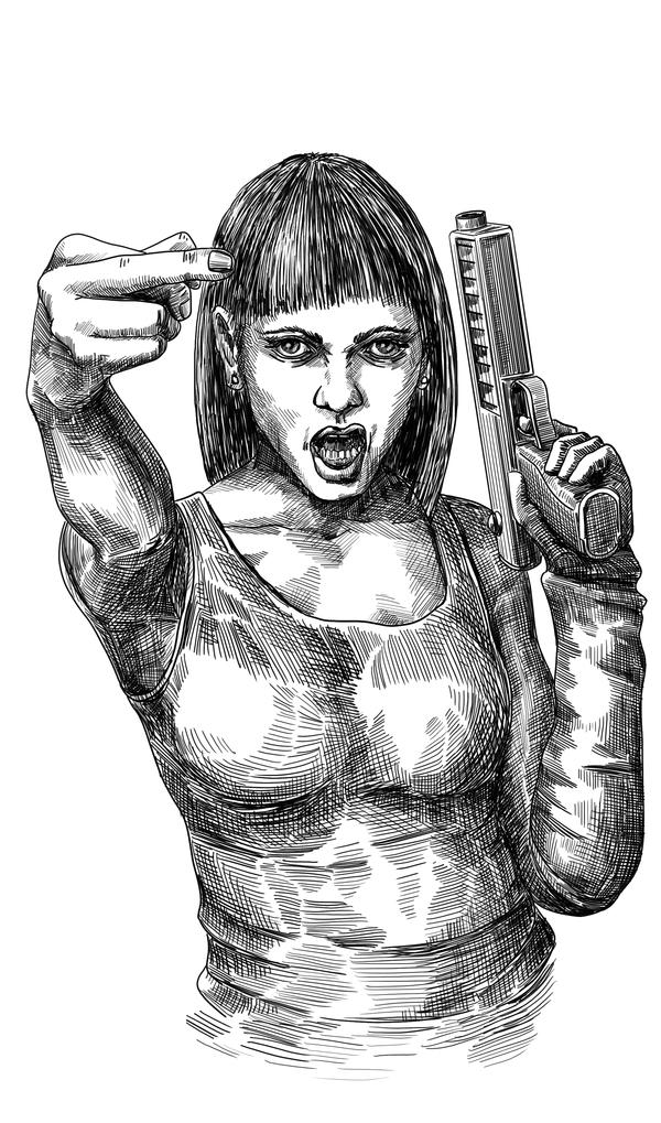 На камеру Рисунок, Баллард, Девушки, Fuck, Иллюстрации, Графика