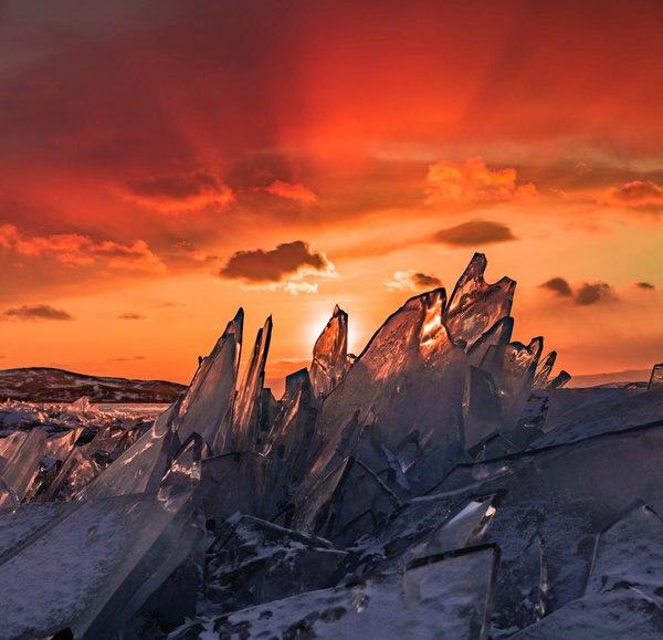 Закат на замёрзшем Байкале Закат, Байкал, Фотография