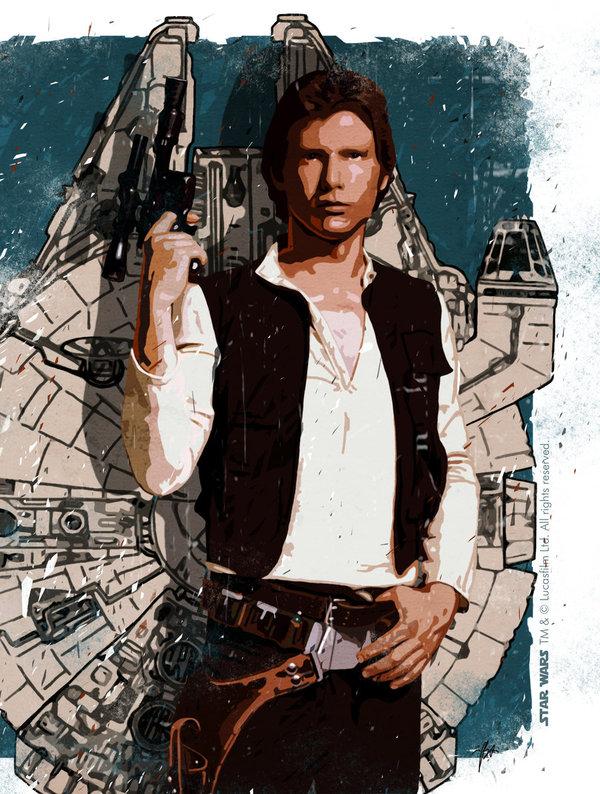 Han Solo star wars, арт, Хан Соло, Art-deWhill