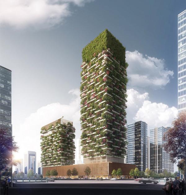 Небоскреб «Вертикальный лес» в Китае будет вырабатывать 60 килограммов кислорода в сутки будущее, Инновации, прогресс, Китай, новости, длиннопост
