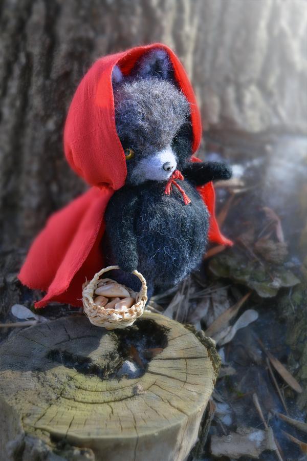 Волчонок из шерсти шерсть, валяние, сухое валяние, волк, игрушки, красная шапочка, длиннопост