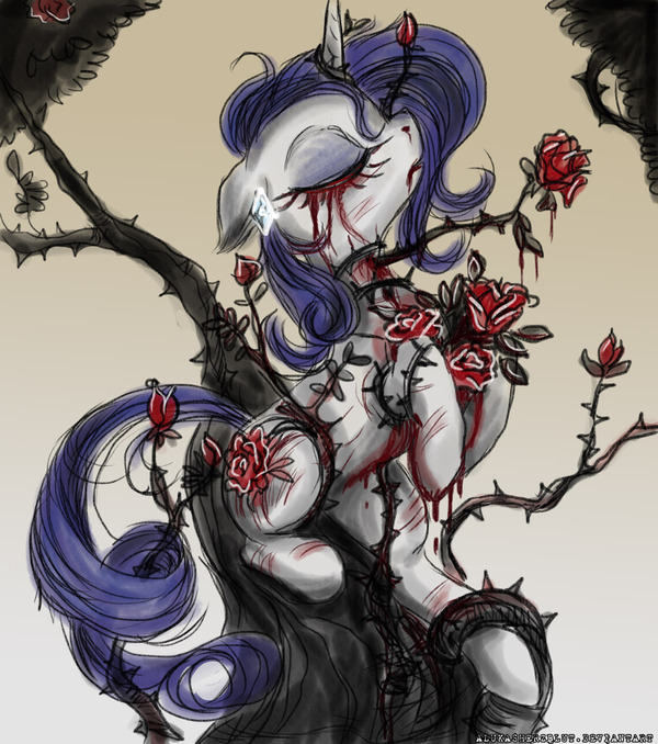 Flowers for Rarity My little pony, Grotesque, Grimdark, Darkpony, Rarity