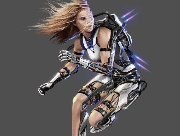Девушки тоже могут арт, женщина, девушки, бег, спорт, бокс, механизм, будущее