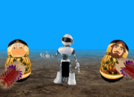 """""""Воины-матрешки забивают красными кактусами робота-эксбициониста"""" матрешка, кактус, робот, неклубличка, беспредел, гифка, развидеть"""