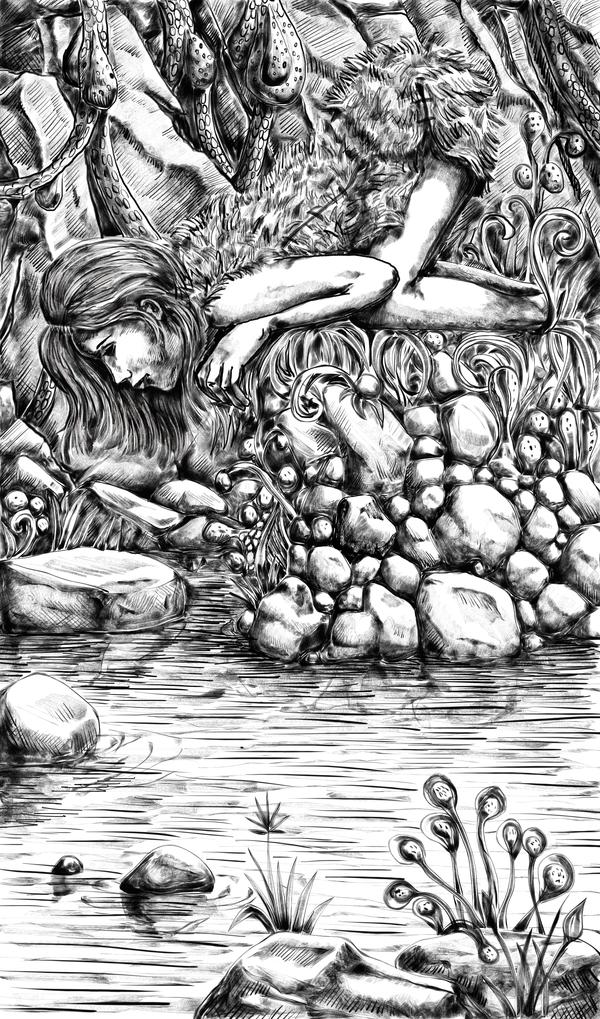 Не стоит смотреть в воду в пещерах... Графика, Арт, Девушки, Фантастика, Майкл Коуни - Герой Нижнеземья