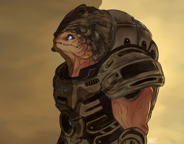 Калрос Mass effect, Grunt, Гаррус, Shepard, Арт, Bioware, Игры