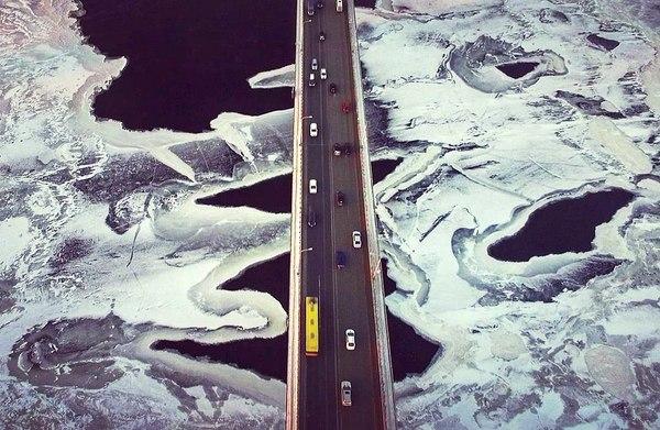 Камский мост Пермь, Фотография, Кама