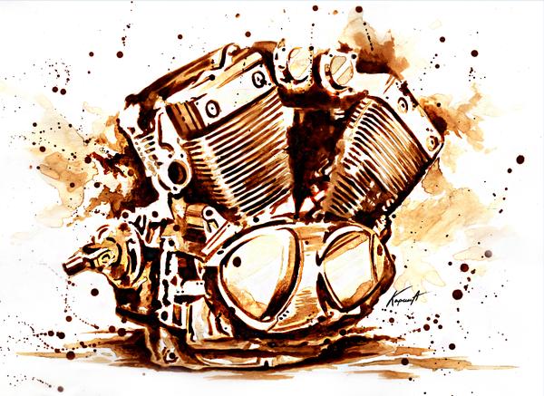 Не изменяю себе, снова картина из КОФЕ. Формат А4. 2017. Мото, Двс, Мотопитер, Мотоциклист, Художник, Рисунок из кофе, Картина кофе, Рисую все