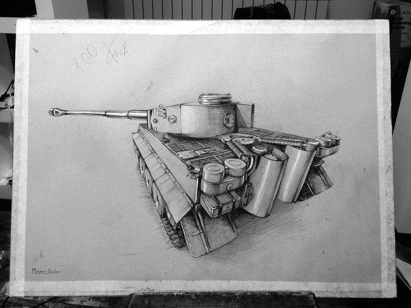 Просто рисунок танка. Рисунок, Арт, Рисунок карандашом, Танки, Tiger i, World of Tanks