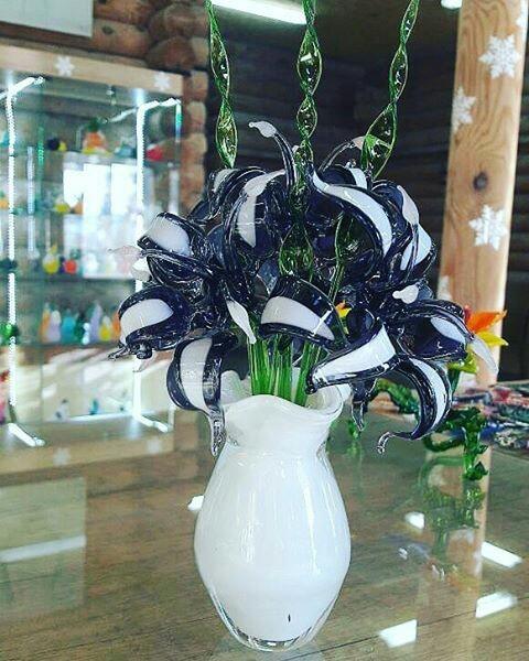 Цветы из стекла Стеклодув, Полимерная глина, Длиннопост